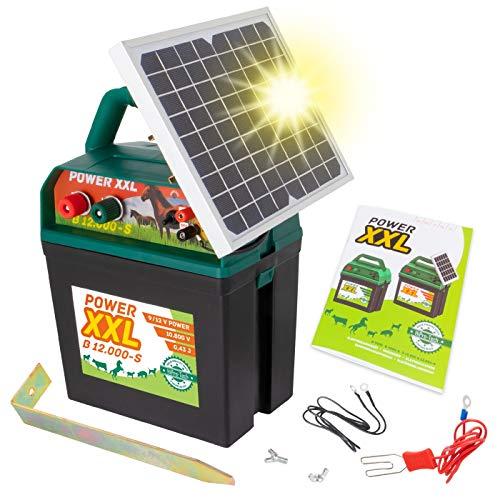 Power XXL B 12.000-S Starkes Solar-Weidezaungerät 9V/12V Megapower, Hocheffektives Solarmodul, Perfekt für Pferde-, Ponyzaun