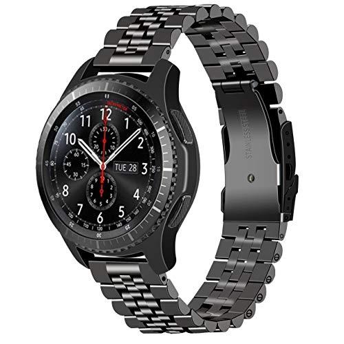Juntan Rilascio Rapido Compatibile for Samsung Galaxy Watch 46mm Gear S3 Frontier, Classic Galaxy Watch 3 45mm Cinturino Orologio 3D Engineer 22mm Acciaio Inossidabile per Uomo Donna Nero