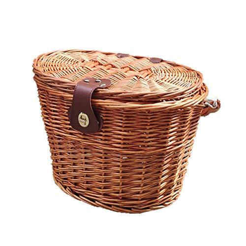 Groust Cesta de bicicleta para manillar de bicicleta, cesta de mimbre delantera para bicicleta para niños, impermeable, con tapa y correas de piel, accesorios para bicicleta para niños y niñas