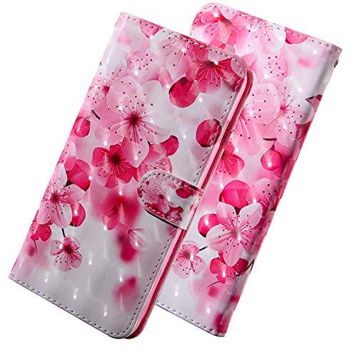 HMTECH Para LG Q6 / LG Q6 Mini Funda 3D Flor de cerezo rosa Flip PU Leather Wallet con Business Card Holder Stand Function Case Compatible with LG Q6 / LG Q6 Plus,Pink Cherry
