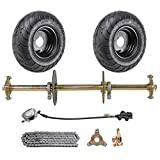WPHMOTO 1' x 32' Live Axle Kit with 13x5.00-6 Wheels Tires Rim and Chain Sprocket Brake Master Cylinder for Go Kart Quad Trike Golf Carts