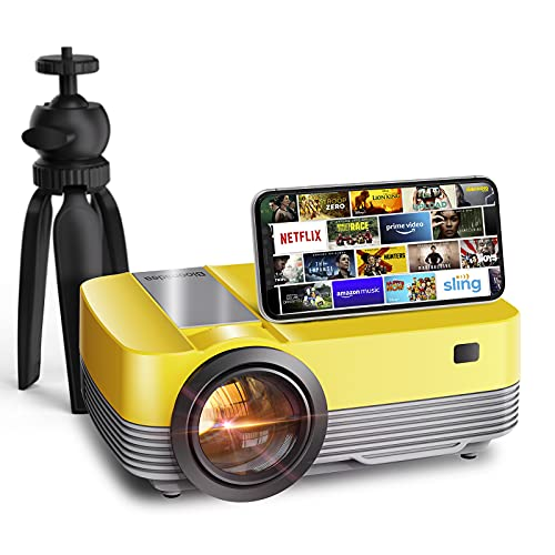 Projector 1080P Support, Movie Projector for Outdoor, Hi-Fi Speaker and Tripod Included,Mini Portable Home Theater Projector for TV Stick/HD/USB/AV/PS4/Laptop/PC