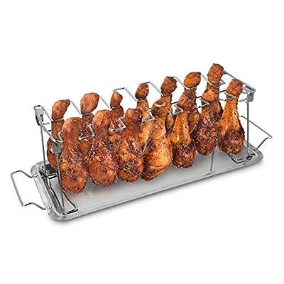 Navaris Chicken Wings Hähnchenschenkel Rack - Grill Halter für Hähnchenteile - Grillzubehör für Hähnchen aus Edelstahl - mit Auffangschale