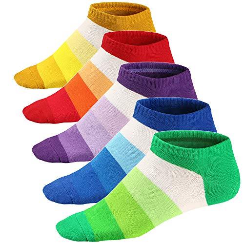 Ueither Calcetines Estampados Hombre Casuales Divertidos Calcetines Corto de Colores con Algodón Fino 39-46 (Color 5)