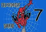OBLEA de Spiderman Personalizada con Nombre y Edad para Pastel o Tarta, Especial para cumpleaños, Medida Rectangular de 28x20cm