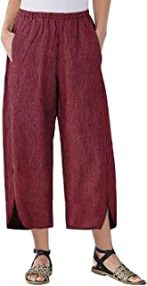 Womens Baggy Casual Trousers Solid Color Plus Size Loose Lightweight Harlan Pants Elastic Waist by:iYBUIA