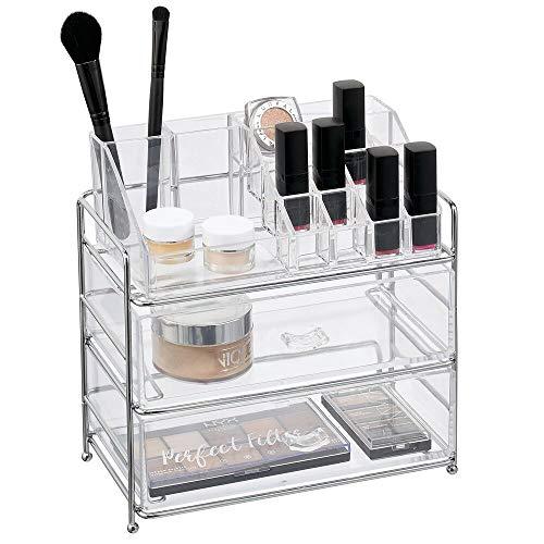 mDesign - Make-up organizer - cosmetica-organizer/make-up houder - met 16 compartimenten en 2 lades - voor lippenstift/nagellak/oogschaduw/kwasten en meer - chroom/doorzichtig