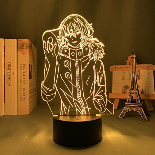 LUOXIA Lámpara LED ilusión nocturna 3D Anime 3D Lámpara Tokyo Ghoul 3D Lamp Ayato Kirishima Light for boy Bedroom Decor Night Light Manga Birthday Gift Tokyo Ghoul LED Lámpara de mesa 7 colores Touch