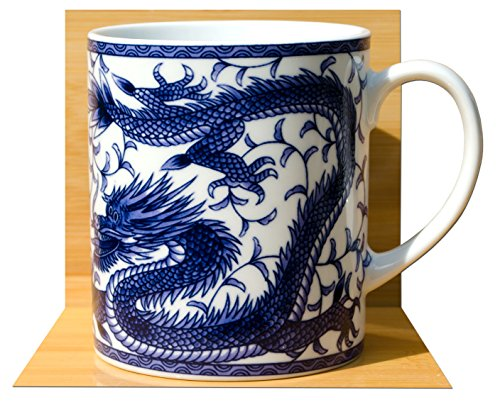 Tazza Di Ceramica Con Motivo Giapponese Feng Shui Di Drago Portafortuna, In Blu