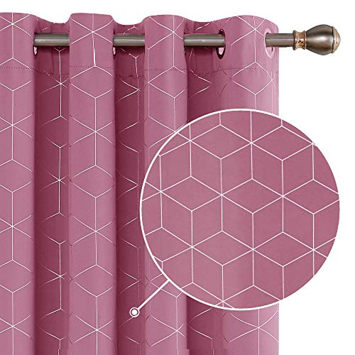 Deconovo Cortinas Opacas Diseño Rombo Plateadas para habitación con Ojales 2 Piezas 140 x 245 cm Rosa