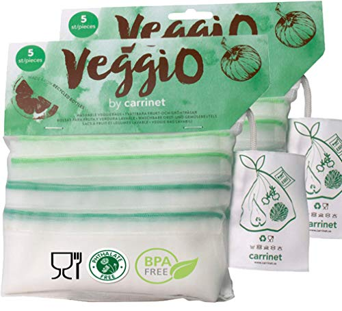 Veggio   10 x Bolsas para la Compra de Frutas y Verduras   Hechas de Plástico Reciclado 100%  Reutilizable y con Certificado de Libre de BPA   3 Tamaños   10