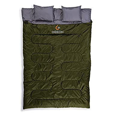 Gideon Extreme Waterproof Backpacking Double Sleeping Bag with 2 Pillows – Amazingly Lightweight, Compact, Comfortable & Warm – For Backpacking, Camping, etc. Double size or Convert into 2-Single Bags
