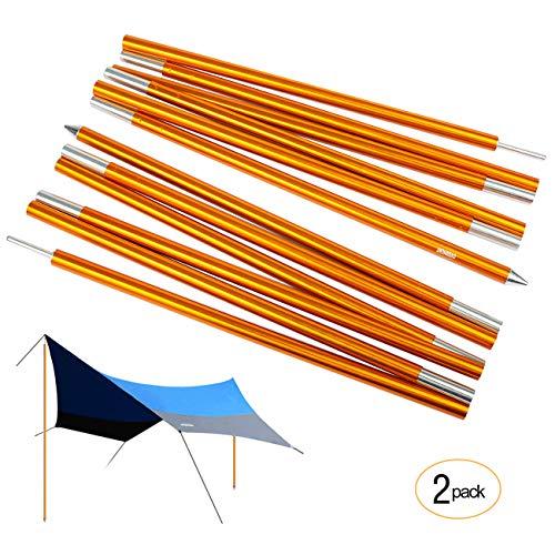 Overmont 2X Zeltstange Tarp Pole Tarpstange Stützstange Aluminium für Regenplane Campingzelt Sonnensegel Sun Shelter