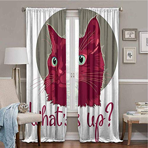 Anzonto Sunblock Curtains Cat Colorful Modern Artwork with Young Cat Portrait Asking Whats Up Love Animal Sage Green Dark Fuchsia 84x63 Inch