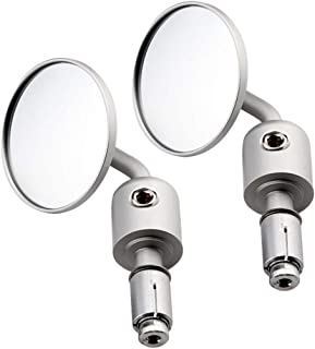 Ugthe 2Pcs Adjustable Folding Rod Motorcycle Handlebar Rear Viewer Glass Mirror Parts - Silver