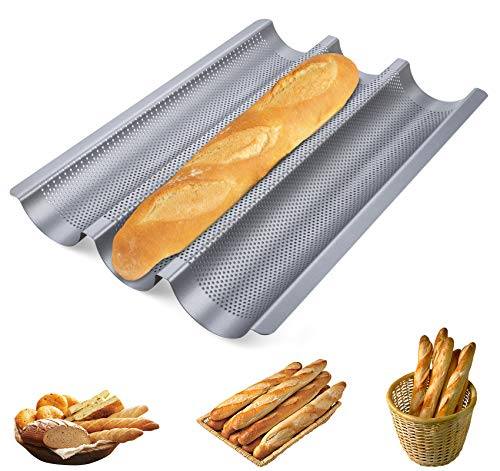 ilauke Baguette Backblech mit Antihaftbeschichtung Baguette Backblech Baguetteform, 38,5x28,5x3,5cm, 3 Fach, Karbonstahl, Silber