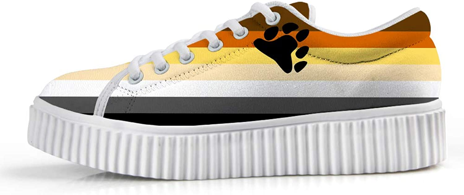 Owaheson Platform Lace up Sneaker Casual Chunky Walking shoes Low Top Women Bear Bredherhood Pride Flag