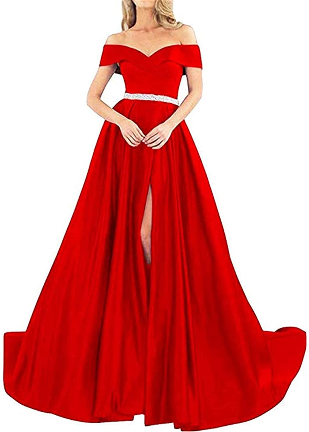 Homdor Off Shoulder Prom Dresses Long ALine Beaded Satin Ball Gowns for Women Formal