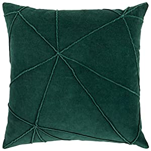 "Imported The geometric pattern formed with the faux-cording on the botanical green velvet face of this modern throw pillow lends a vibrant contemporary edge to any decor motif. 18""L x 18""W Geometric cotton velvet face; faux cording technique; hidden ..."