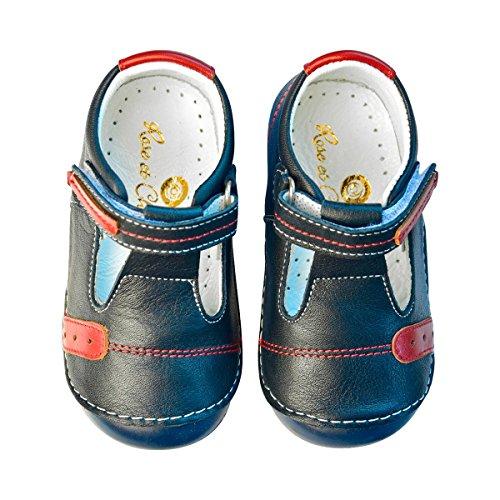 Rose & Chocolat Chaussures premiers pas « T-Strap » chaussures bébé, marine/rouge