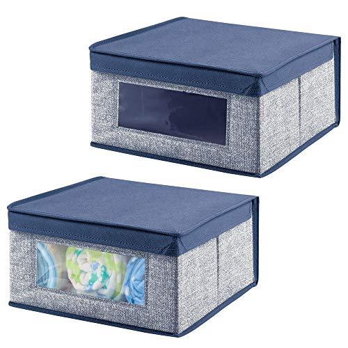mDesign Set da 2 Scatole Contenitore – Scatole per armadi in Tessuto per Vestiti, Scarpe – Pratico portabiancheria con Coperchio e oblò Frontale – Blu