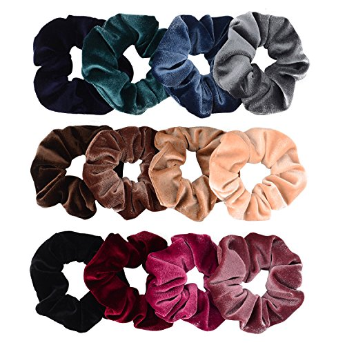 Whaline 12 Pack Hair Scrunchies Premium Velvet Scrunchy Elastic Hair Bands for Girls, Women Hair Accessories (12 Colors)