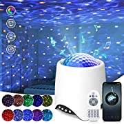 Projecteur Ciel Étoilé, SOLMORE Lampe Projecteur LED avec Bruit Blanc,8 Modes Scène/16 Musique/Télécommande/Bluetooth /Fonction minuterie 2 heures,Adapté à la Chambre / Fête / Cadeau (blanc)