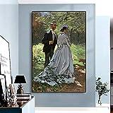 Cuadro sobre Lienzo -Impresión en Lienzo -Bazille Y Camille -Claude Monet 40X60Cm Sin Marco, Replica Mural Wall Art Impresiones en Lienzo Pintura