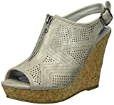 Rampage Women's Chamomile Peep Toe Sling Open Back Wedge Sandal, Platinum Smooth, 9