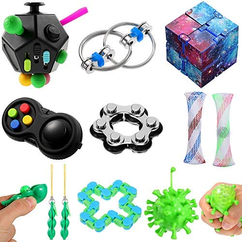 11 Pieces Fidget Toy Set Include 12 Side Fidget Toy Infinity Cube Peapod Fidget Spiky Ball Fidget product image
