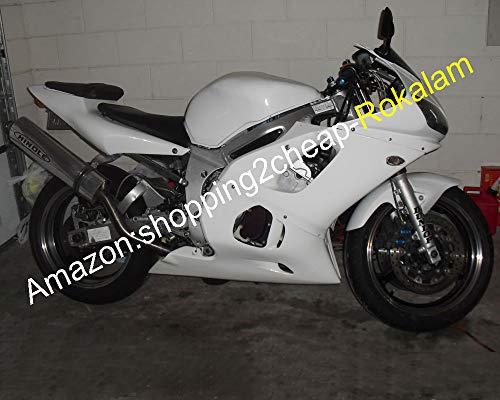 Toutes les pièces de carrosserie de moto blanches pour YZF R6 1998 1999 2000 2001 2002 YZF600 YZF-R6 YZFR6 98-02 Kit de carénage ABS (moulage par injection)
