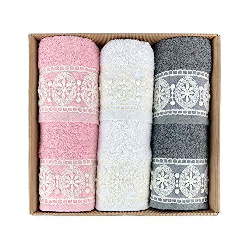 NADA HOME Ferlen 4032 - Juego de toallas de baño 3 + 3 de rizo para rostro y invitados