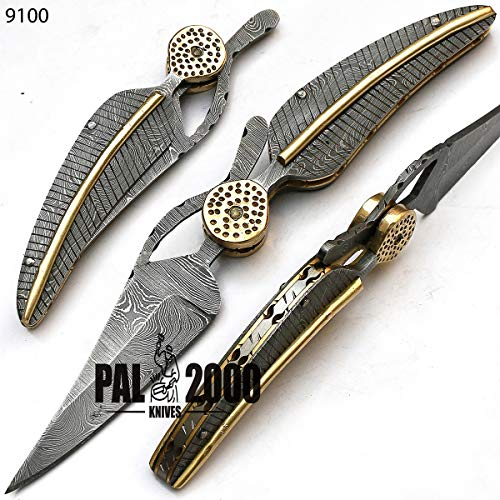 PAL 2000 Damascus Knives - Best Handmade Damascus Steel Folding Pocket Knife With Sheath - Unlockable Folding Knife - Less Than 3 Inch Lama - Legal to Carry - ARSAA-01900
