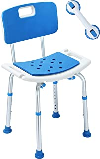 EVA Paded Shower Chair Bath Seat Bench with Backrest and Extra Assist Grab Bar, Adjustable 8 Height No-Slip Stool SPA Bathroom Bathtub Chair for Seniors, Elderly, Disabled, Handicap, Injured
