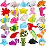 30 Pieces Mini Sea Creatures Stuffed Toys Ocean Animal Plush Toys Cute Keychain Decorations for Christmas Tree Bag Fillers Party Favors