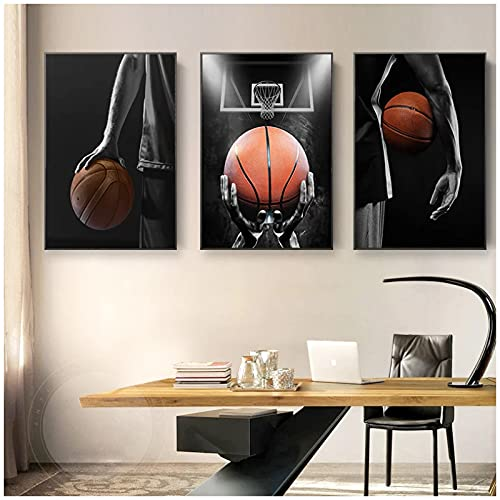 JFGJF Deportes Modernos Baloncesto Dream Art Posters e Impresiones Pinturas en Lienzo Imágenes artísticas de Pared para decoración de Sala de estar-20X30 Pulgadas 3 Piezas Sin Marco