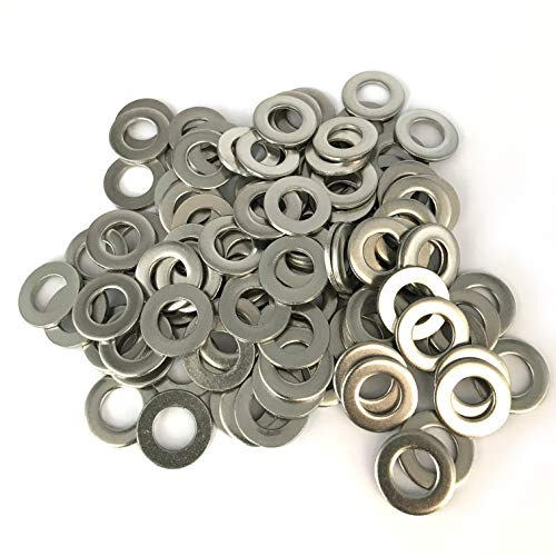 M10 Flat Washer, 304 Stainless Steel, 10mm ID, 20mm OD, 2mm Thickness, Plain Finish, for Bolt and Screw (Pack of 100)