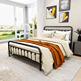 Metal Bed Frame Vintage Sturdy Queen Size with Headboard and Footboard Mattress Foundation No Box Spring Needed (Queen, Black)