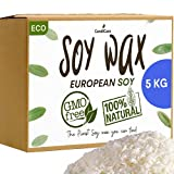 Cera de soja 5KG en virutas - Calidad Profesional - 100% Natural sin OGM Ecológica y Vegetal (+2 EBOOK OFRECIDO) - para fabricación y confección de velas fundidas, masajes y melts