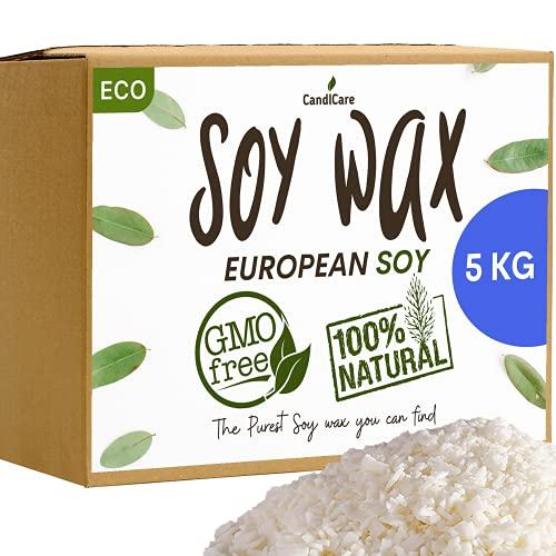 Cera di Soia 5KG Fiocchi - Qualità PRO - 100% Naturale, Senza OGM (+ 2 EBOOKS OFFERTI) Vegano e Vegetale, fabbricazione e la creazione di Candele, Massaggi e Fondenti