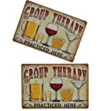 dancepandas Cartel de Chapa Vintage 2PCS Placa de Pared Vintage Shabby Chic Tin Sign Beer para café, Cerveza, Club, decoración del hogar, Grupo Terapia, con Cerveza, 20 x 30 cm