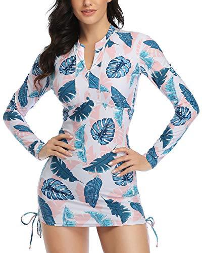 Daci Women Pink Leaves Rash Guard Long Sleeve Swimsuit UPF 50 Zipper Side Adjustable Swim Shirt No Bottom X-Large