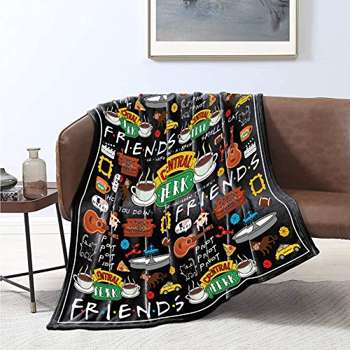 Friends TV Show Throw Blanket Friends Theme Flannel Blanket, 50x60 Inch for Sofa Couch Bed Cover Soft Cozy Lightweight Plush Fabric Room Décor