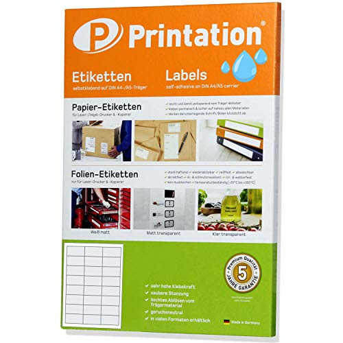 Etiketten 63,5 x 33,9 mm WETTERFEST weiß auf DIN A4 Bogen à 3 x 8 Stück/Seite - 240 wetterfeste Folienetiketten 63,5x33,9 mm selbstklebend mit Laser Drucker bedruckbar