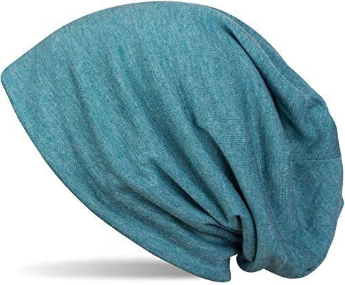 styleBREAKER Klassische Slouch Beanie Mütze, leicht und weich, Longbeanie, Unisex 04024018, Farbe:Petrol-Blau meliert