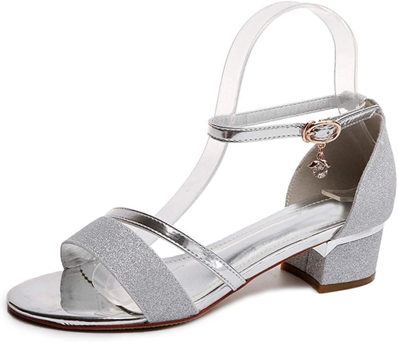 GIY Women's Ankle Strap Kitten Heel Dress shoes Summer Strappy Buckle Block Heel Cute Low Sandals