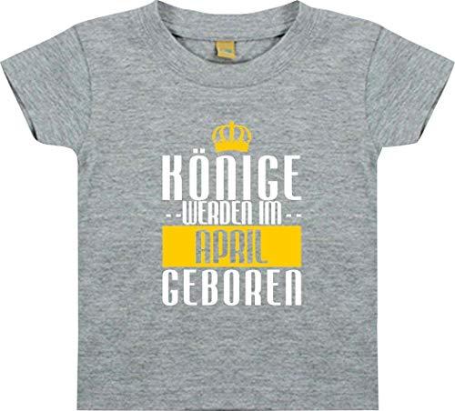 Shirtstown Bebé Camiseta Niños Reyes Werden en el Abril Geboren - Gris, 0-6Monate
