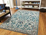 Traditional Vintage Area Rug Distressed Rugs Blue 5x8 Rugs Blue Turquoise Grey Beige 5x7 Kitchen Floor Rug
