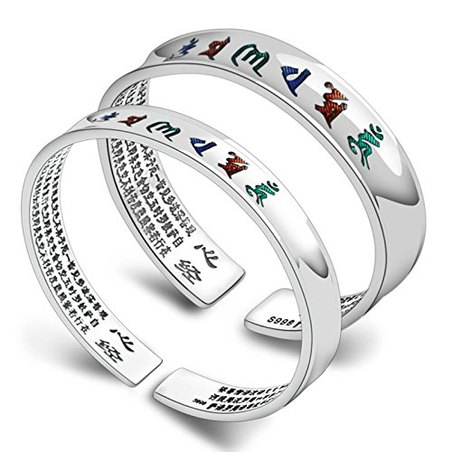 Daesar Modeschumck Armreif Silber 925 Eckig Groß Buddhismus (Om Mani Padme Hum) Bettelarmband Punk Herren Damen Armband Silber