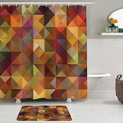 vhg8dweh Juegos de Cortinas de baño con alfombras Antideslizantes, Colorido Arte Abstracto Cuadrícula Mosaico Geométrico Imagen Creativa Triángulo Obra de Arte Imprimir Marigold Brown,con 12 Ganchos